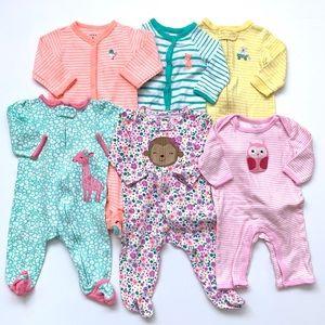 Baby Girl Sleepers Lot Bundle 6 Months